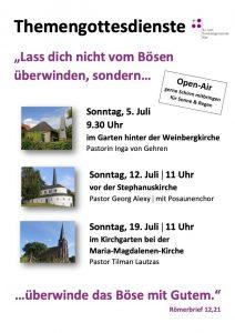 Themengottesdienste im Juli / Open-Air