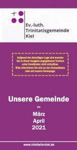 Der Gemeindebrief März/April 2021 online – öffentliche KGR-Sitzung