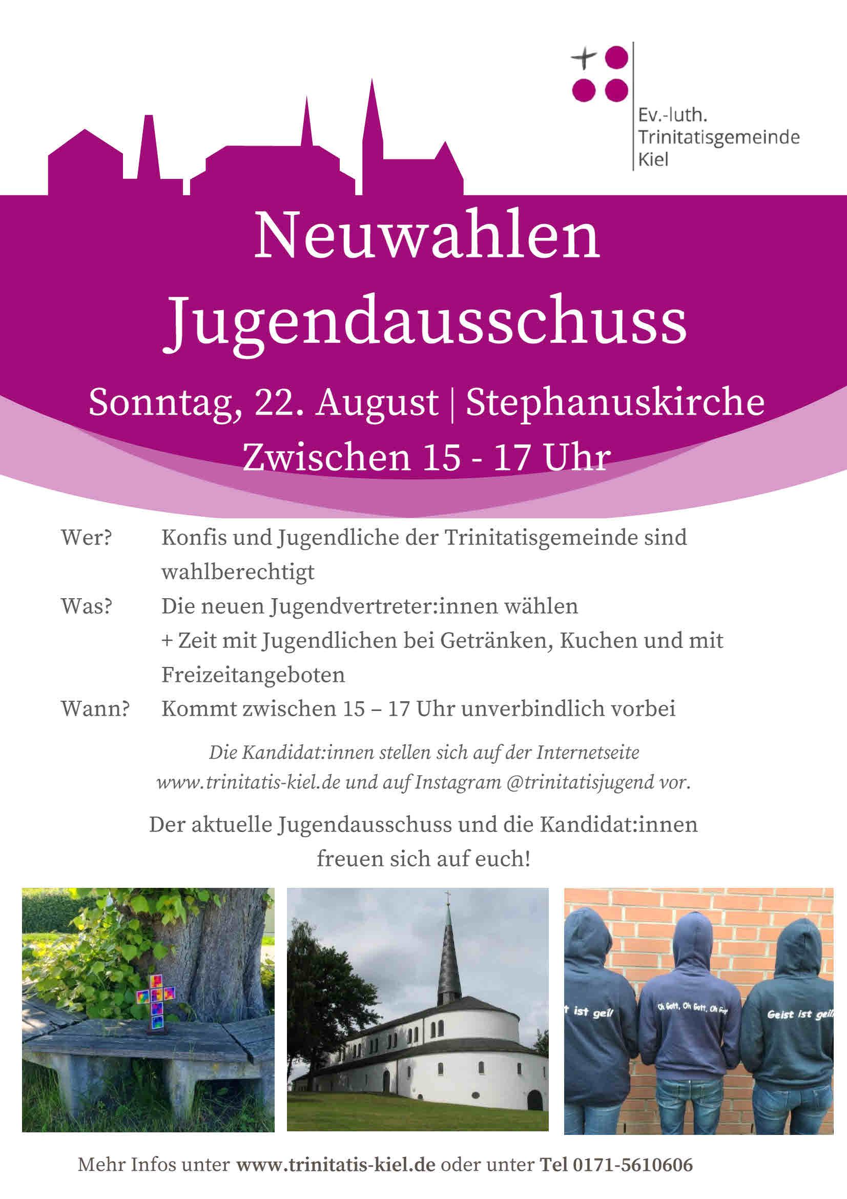 Read more about the article Wahl zum Jugendausschuss / 22. August 15-17Uhr / vor der Stephanuskirche